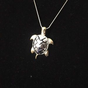 Silver tone mixed metal Sea Turtle Necklace